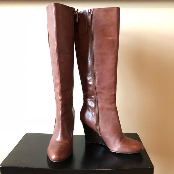 e7190e1fce65 Nine West Genuine Leather Oran Boots - Wedge Heel.  M 5a46aad172ea8824d0124869